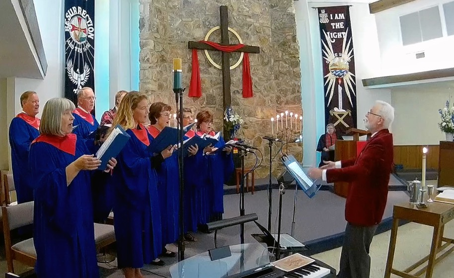 Choir Blue Robes Red Stoles